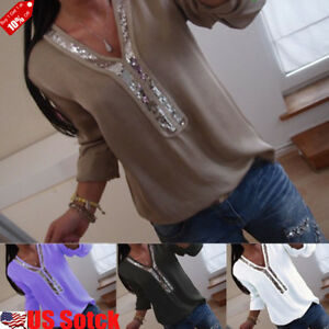 US-Women-Clubwear-Sequin-V-Neck-Long-Sleeve-Tops-Casual-T-Shirt-Blouse-Plus-Size