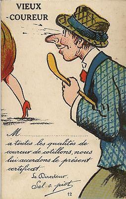 Cp Fantaisie Humour Vieux Coureur Ebay