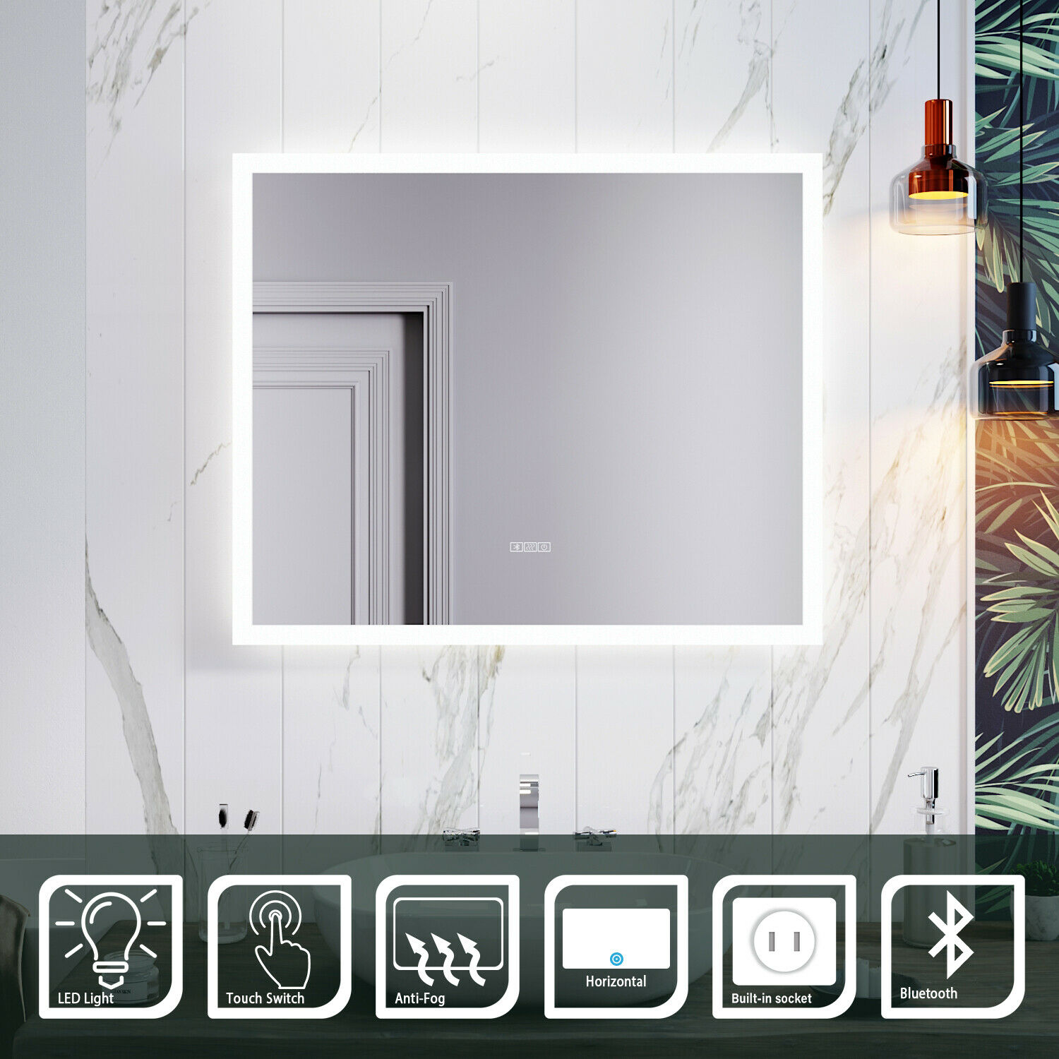 600x500mm Bathroom Mirror with Bluetooth Shaver Socket Demister Touch LED Light