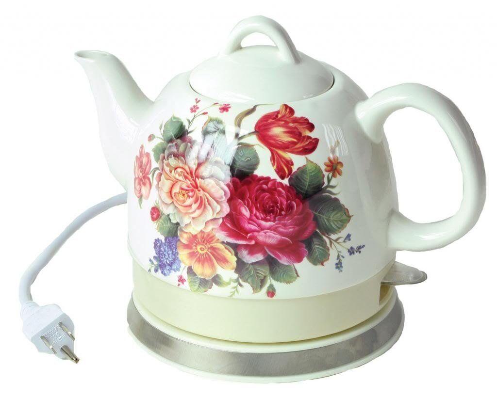NOUVEAU  Tante Polly's Imprimé Floral électrique d'eau chaude Bouilloire Pot De Thé Cuisine cadeau