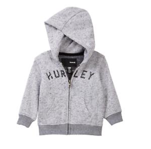 Hurley Baby Little Boys Grey Retreat Logo Zip Up Hoodie Sweatshirt NEW Tags $42