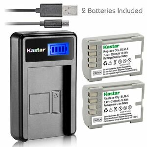 Kastar-Battery-and-LCD-Slim-USB-Charger-for-Olympus-PS-BLM5-C-8080-E5-E520-E330