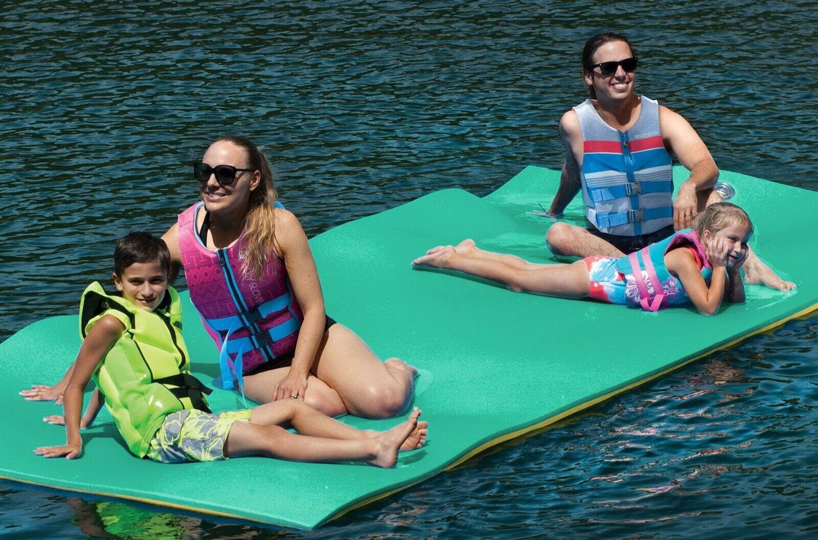 Image 8 - Huge 7 Person Floating Oasis Foam Raft Lake Sea Water Pad Mat 15' x 6' 1,500 lbs
