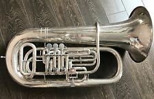 UNIQUE Hirsbrunner Swiss Double Tuba Bass Eb/Bb silver finish - custom order