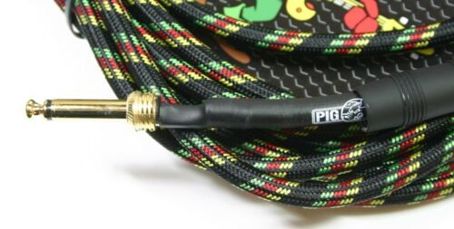 2-PACK PIG HOG 20 FOOT RASTA STRIPES /& SEAFOAM GREEN GUITAR PATCH CABLE 1//4 CORD
