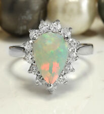 2.70 CTW Natural Ethiopian Opal and Diamonds in 14K Solid White Gold Ring