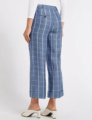 M/&S PURE LINEN WIDE BLUE CHECK 7//8TH CROP TROUSERS 8 10 12 14 16 20 SHORT REG