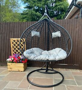 Hanging Egg Chair Cocoon With Cushion Rattan Style Double Single White Black New Ebay