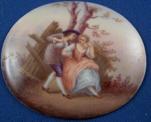 Nice-Dresden-Porcelain-Couple-Plaque-Porzellan-Scene-Bild-Scenic-German-Germany
