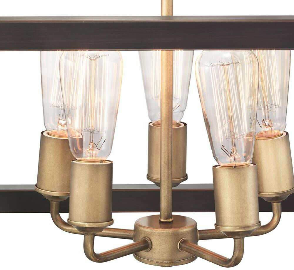 5 Light Vintage Brass Pendant Hang Black Distressed Wood Accents Boswell Quarter For Sale Online