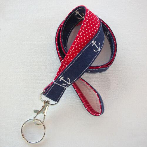 navy blue anchors red dots Key Chain Lanyard Id Holder Key Leash badge holder