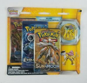 Pokemon-Pin-Collection-3-Pack-Pin-Booster-Raikou-New-XY-Evolutions-Sun-amp-Moon