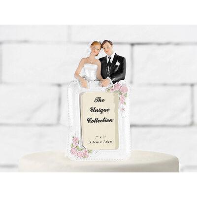 Tortenfigur Brautpaar mit Bilderrahmen - Für Ihre Hochzeitstorte - 14 cm hoch