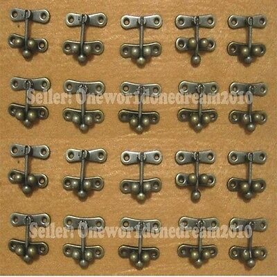20x Antique Brass Jewelry Box Hasp Latch Lock Clasp Swing Hook With Screws 37x41