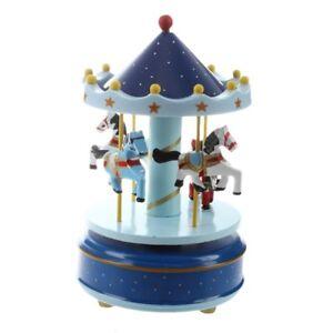 Manege chevaux musical bois carrousel boite a musique jouet jeu pr enfant b C2G3