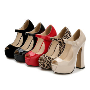 New Platform Peep Toe High Heels Chunky Heel Mens Crossdresser Shoes