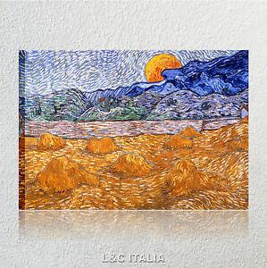 Van Gogh Paesaggio con covoni e luna QUADRO 50x70 QUADRI STAMPA SU ...
