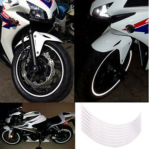 Rim-Stickers-WHITE-Silver-Reflective-Tape-6mm-17-034-Motorcycle-Motorbike-18-Strips