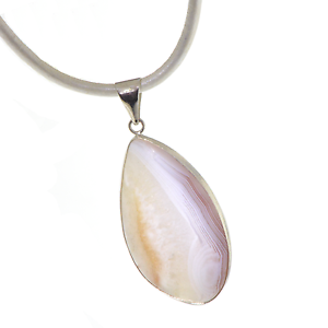 White-Agate-Tribal-Gemstone-Pendant-Necklace-A022-2-Leather-Cord-FREE-GIFT-BOX