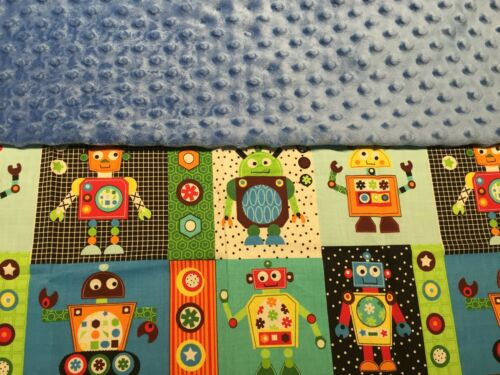 Baby Boy Robot Minky Blanket.You pick color /& add your childs name.