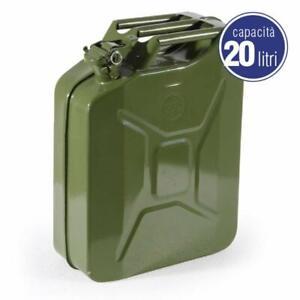 Tanica-in-metallo-per-carburante-benzina-omologata-UN-chiusura-ermetica-20-litri