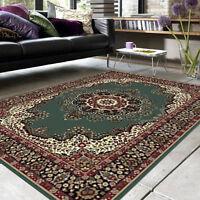 Large Floor Rug Vintage Designer Green 230 X 160 Free Delivery 0046
