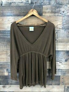 C&C California Women's Brown Long Sleeve VNeck Top Size M