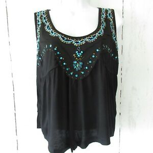 New-Temptation-By-Angie-Tank-Top-M-Black-Beaded-Cropped-Boho-Festival-Western