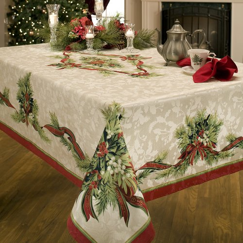 Benson Mills Christmas Holiday Ribbons Engineered Printed Fabric Tablecloth For Sale Online Ebay