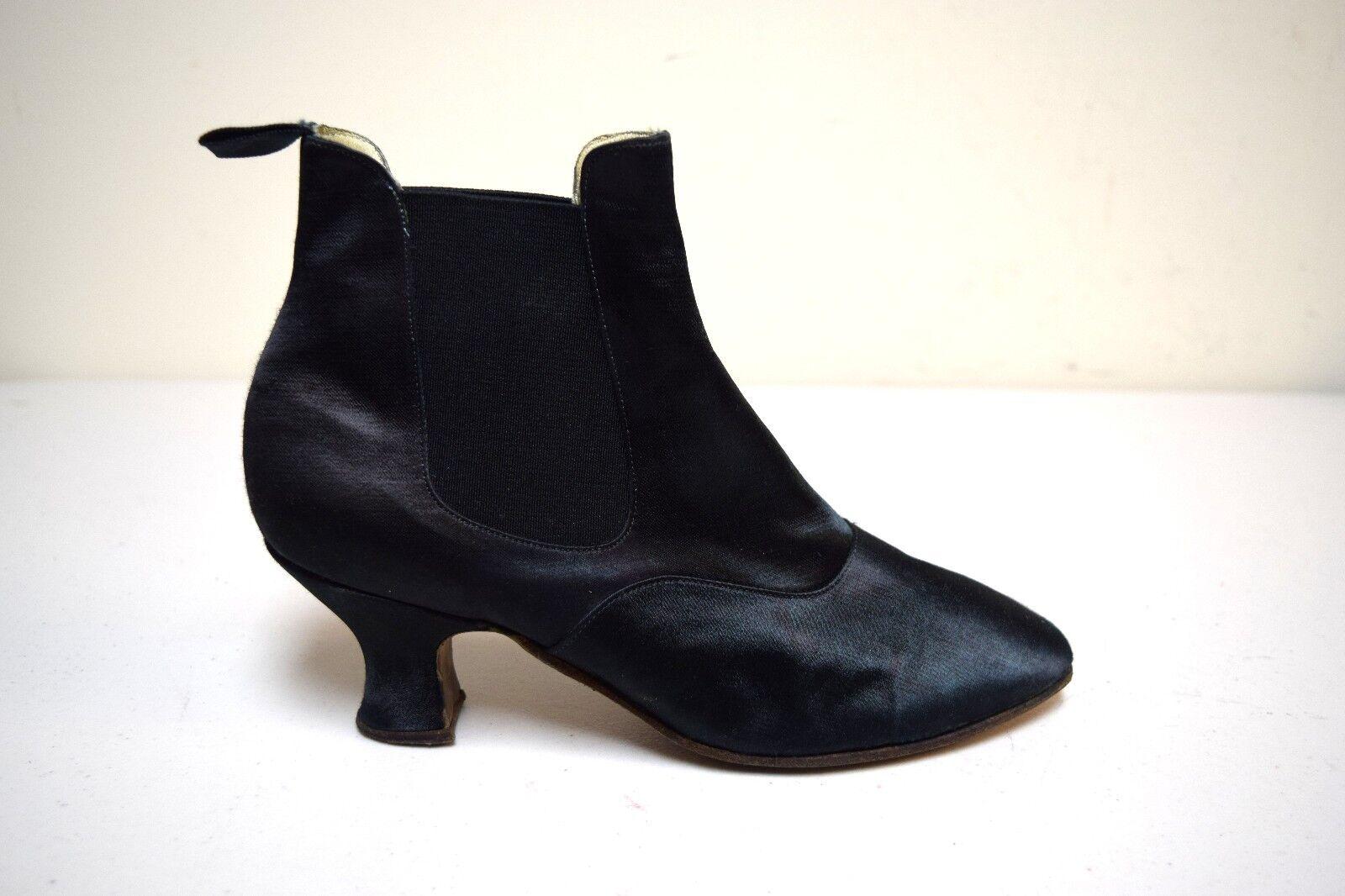 Vintage AMAZON DRY GOODS Black Satin Satin Satin Elastic Gore Ankle Boots England Size 6 501d09