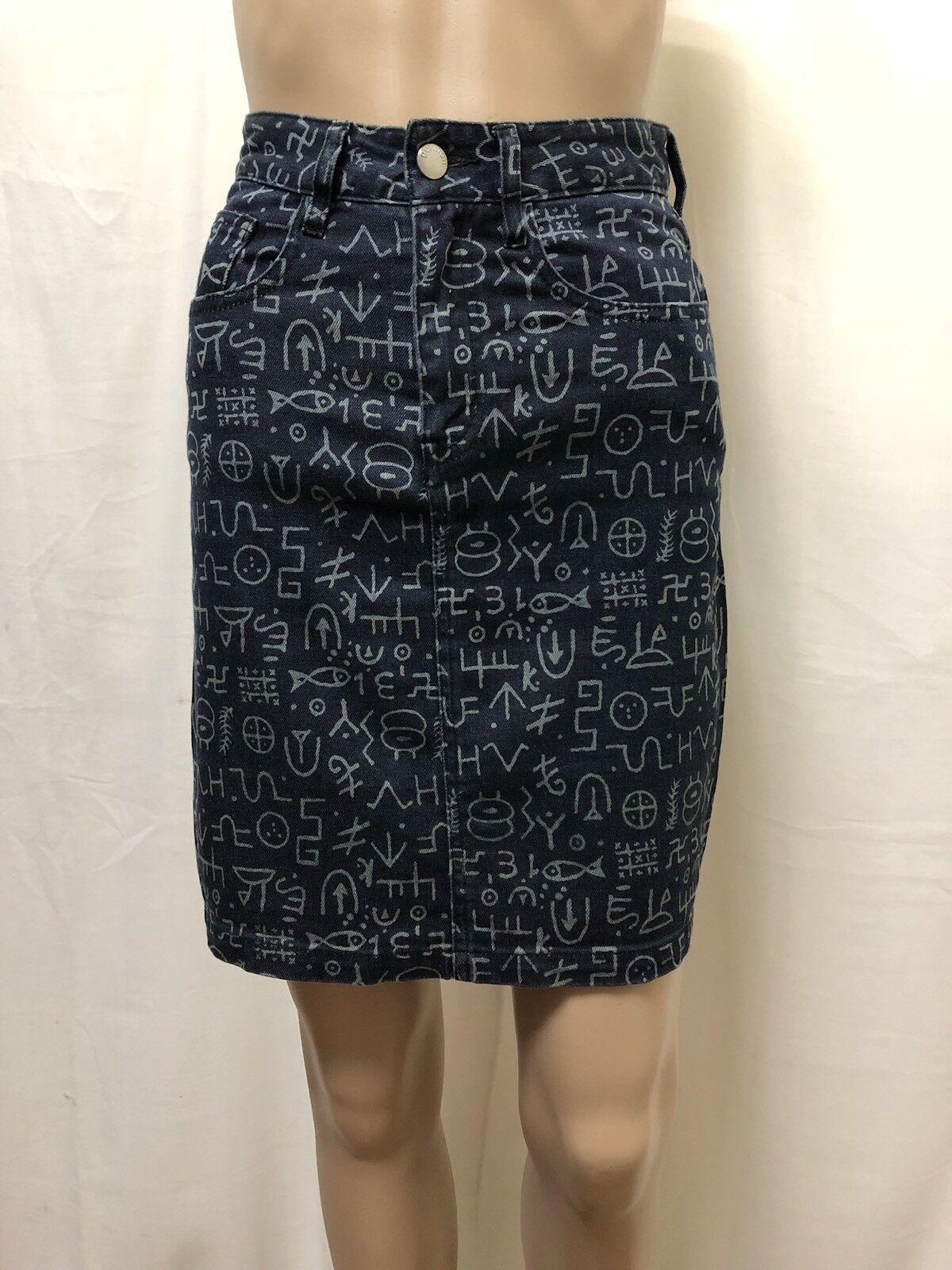 Gorman Skirt Womens  Sz 6  Great Cond Egyptian Print High Waisted Style Denim