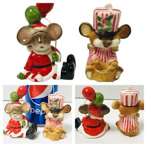 Lot-of-2-Vtg-Christmas-Mice-with-Balloons-amp-Drummer-Figure-Ornament-Lefton