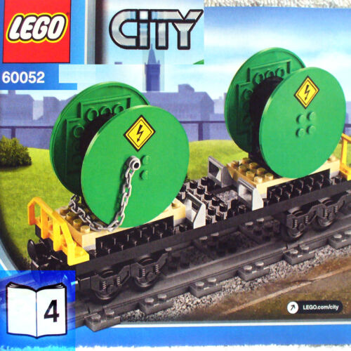 Lego Flatbed Cable Drum Carrier Car NEW City Cargo Train 60052 B4 Book-4