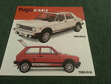 1983 YUGO Zastava UK - 311 313 GL 511 513 513 GL 45 45 GL COLOUR FOLDER BROCHURE