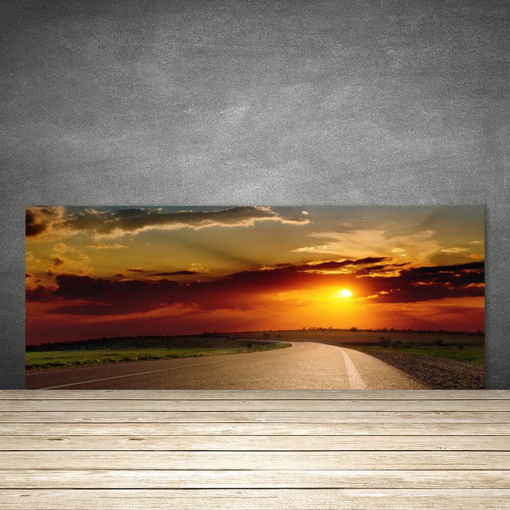 Crédence de cuisine en verre Panneau 125x50 Paysage Coucher Du Soleil Rue