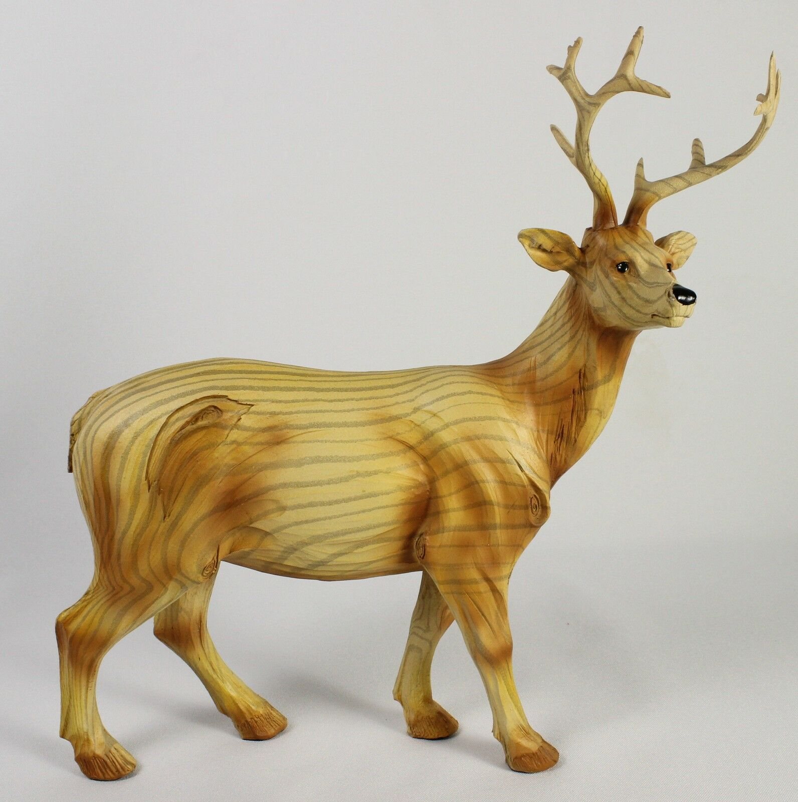 Buck Deer Faux Wood Carving Figure Statue Sculpture Wildlife White ...