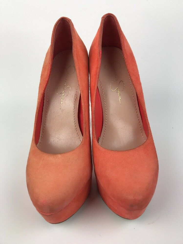 Jessica Simpson Orange Heel Platform Pump Shoe Orange Simpson Suede Leather Womens Size 6.5 B 08aab6