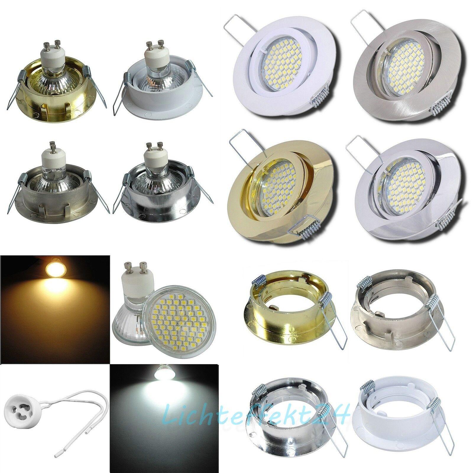 8er Set / 230V LED Einbaustrahler / Einbauleuchten / Einbauspots / Glas SMD / 3W