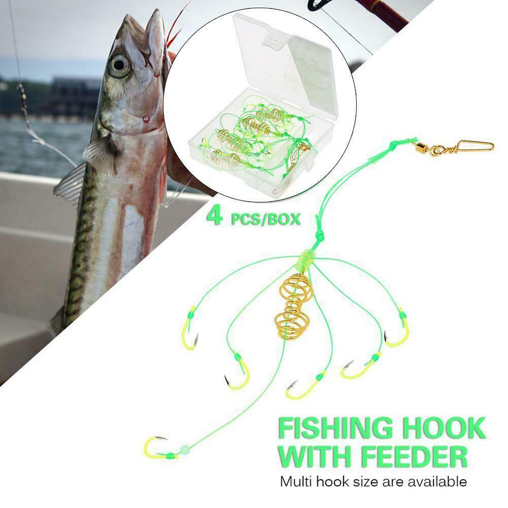 "8 pcs Ready Fishing Tackle /""Melon/&Spring 1-1-F-2 leaders/"" Carp Feeder set"
