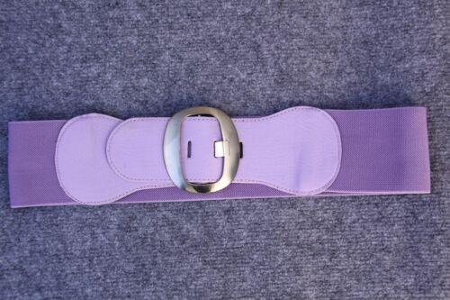 Bonito más ancha goma cinturón lilas talla 80, curvada color plata