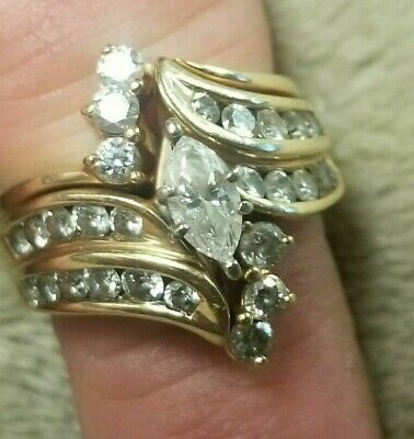 Zales Wedding Sets.Zales 14k Yellow Gold 1 1 2 Ctw Marquise Wedding Ring Set Size 7 25 Ebay