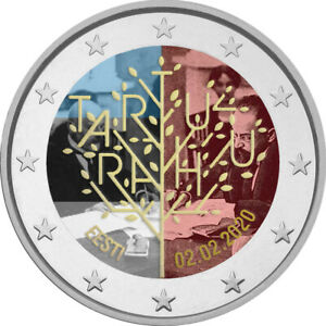 2-Euro-Gedenkmuenze-Estland-2020-coloriert-m-Farbe-Farbmuenze-Frieden-Tartu