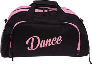 Silver-Lilly-Womens-Black-Pink-Nylon-Dance-Duffel-Gym-Bag-w-Shoe-Compartment