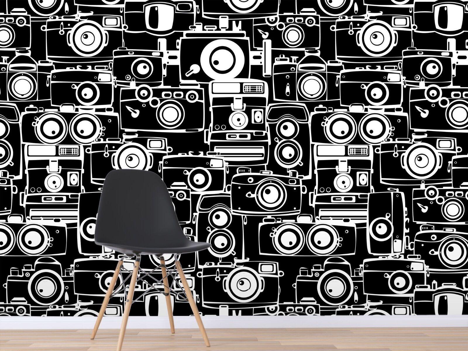 3D Kameras Schwarz 7112 Tapete Wandgemälde Tapete Tapeten Bild Familie DE Sidney