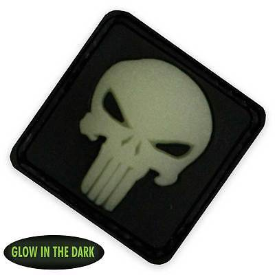 3D PVC Punisher Skull Military Tactical Morale Patch Front Glow in the Dark NEW