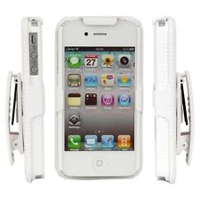 HARD WHITE RIBBED CASE & BELT CLIP HOLSTER KICKSTAND FOR APPLE IPHONE 4G 4S NEW
