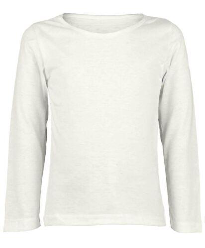 New Kids Long Sleeve Plain Basic Top Filles Garçons T-shirt Tops ras du cou uniforme Tee