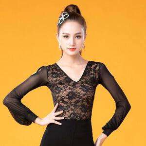NEW Women Top for Latin salsa cha cha tango Ballroom Dance#W632 Black