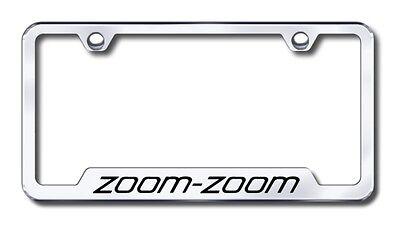 Mazda Zoom Zoom Stainless Steel License Plate Frame Logo Tag Bright Chrome