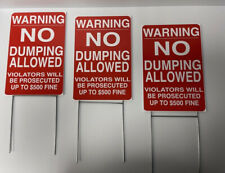 3 Pack 8 X 12 Warning No Dumping Allowed Signs 4mil Coroplast With Stakes